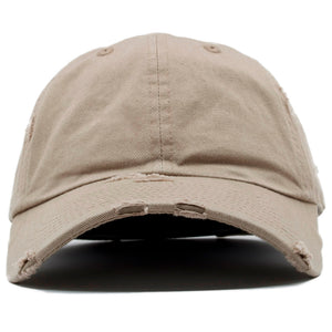 The blank khaki vintage distressed dad hat has a soft crown and a bent brim.