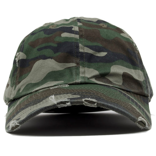 the camouflage distressed blank dad hat is 100% cotton.
