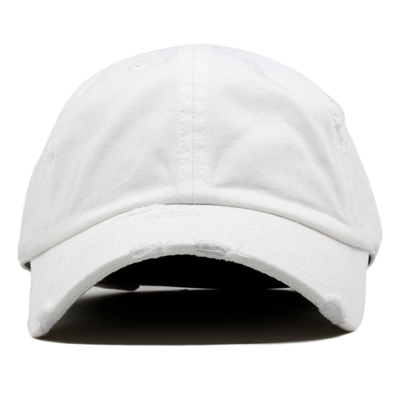 The blank white vintage distressed dad hat has a soft crown and a bent brim.