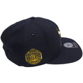 on the right side of the chicago bulls vintage windy city dunk from above jordan 4 sneaker matching snapback hat is the eastern conference logo embroidered in yellow and navy