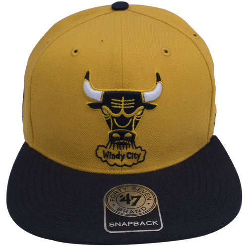 on the front of the chicago bulls dunk from above sneaker matching snapback hat is the windy city bulls logo embroidered in navy blue, yellow, and white