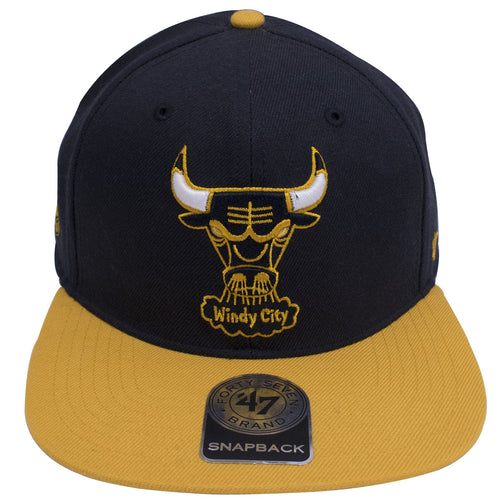 the chicago bulls dunk from above 4 sneaker matching snapback hat has a navy blue crown and a yellow flat brim