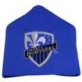 on the front of the montreal impact cuffless knit beanie is the montreal impact logo knit in black, blue, and gray