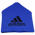 on the back of the montreal impact cuffless beanie is the adidas logo in navy blue