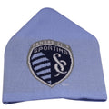 on the front of the sporting kansas city rooftop cuffless beanie is the sporting KC logo knit in navy blue, white, and gray