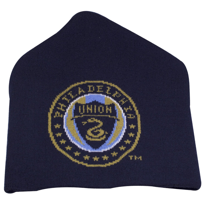 on the front of the philadelphia union cuffless knit beanie is a philadelphia union logo knit in tan, navy blue, light blue and white