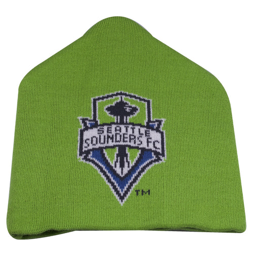 on the front of the seattle sounders fc winter beanie is the seattle sounders fc logo kniti in blue, navy blue, and white