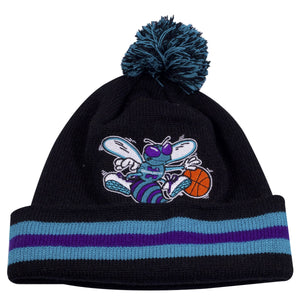 on the front of the charlotte hornets striped raised cuff winter beanie is a throwback charlotte hornets beanie
