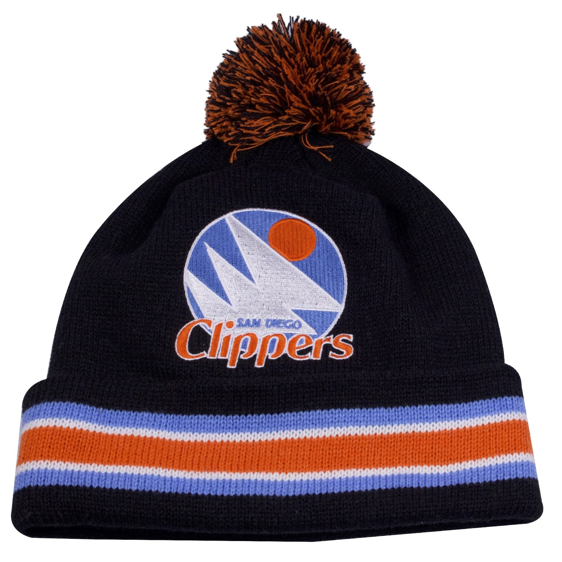 designer fashion 79111 99440 the vintage san diego clippers winter beanie has a black crown, black  raised cuff with