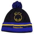on the back of the golden state warriors two side double design winter beanie, the crown is black, the raised cuff is blue with black and yellow horizontal stripes. the golden state warriors the city logo is yellow