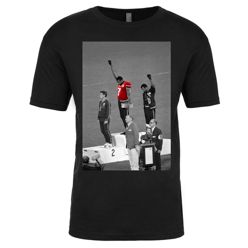 the colin kaepernick 1968 olympic black power t-shirt is solid black with a black and white photo of the 1968 black power protest with a colin kaepernick jersey