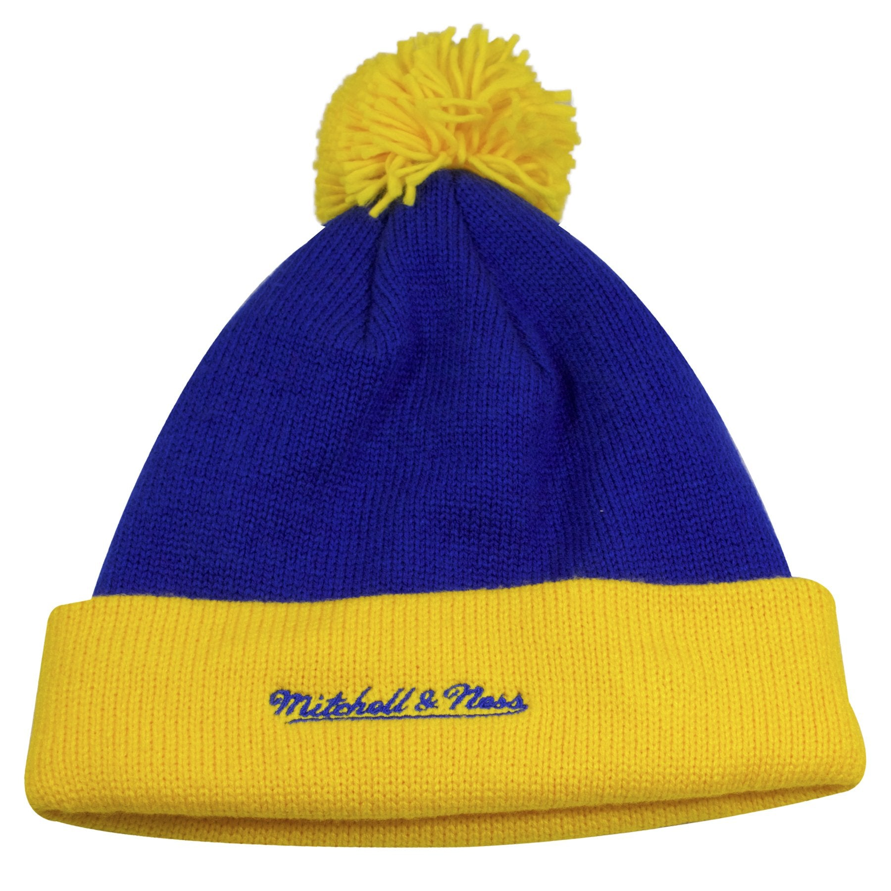f63c6f4fc74 ... on the back denver nuggets vintage blue winter beanie is the mitchell  and ness logo embroidered