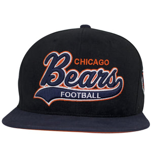 on the front of the chicago bears special script snapback hat is the chicago bears lettering embroidered in navy blue, orange, and white