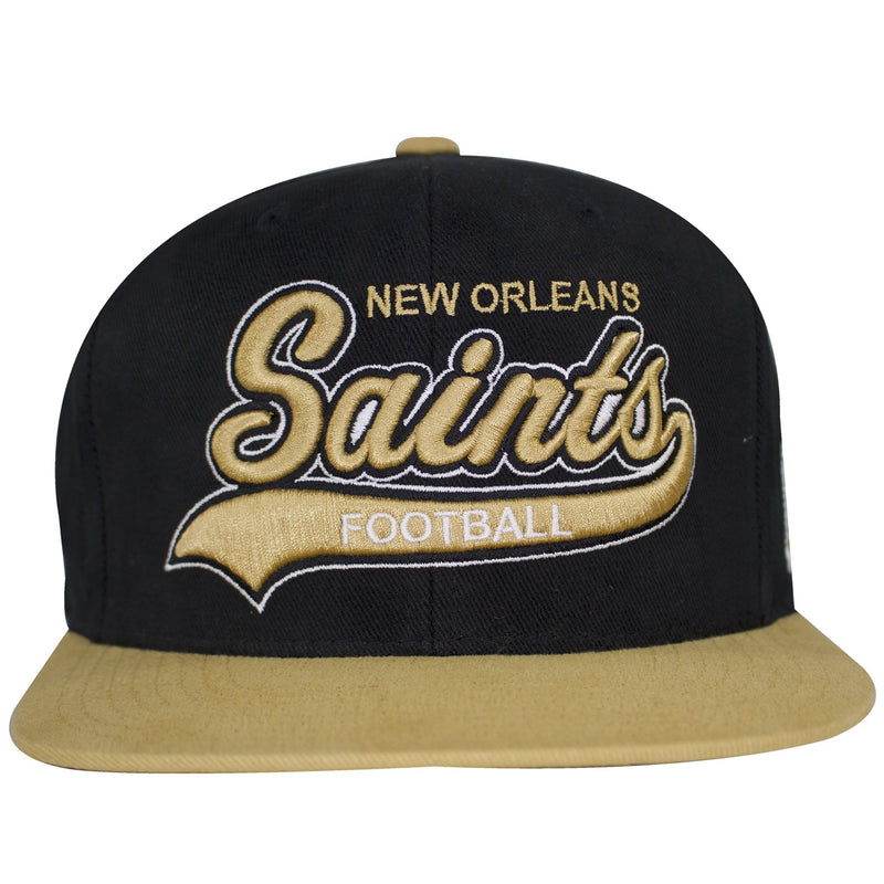 on the front of the new orleans saints special script snapback hat has the lettering new orleans saints football snapback hat embroidered in tan and white