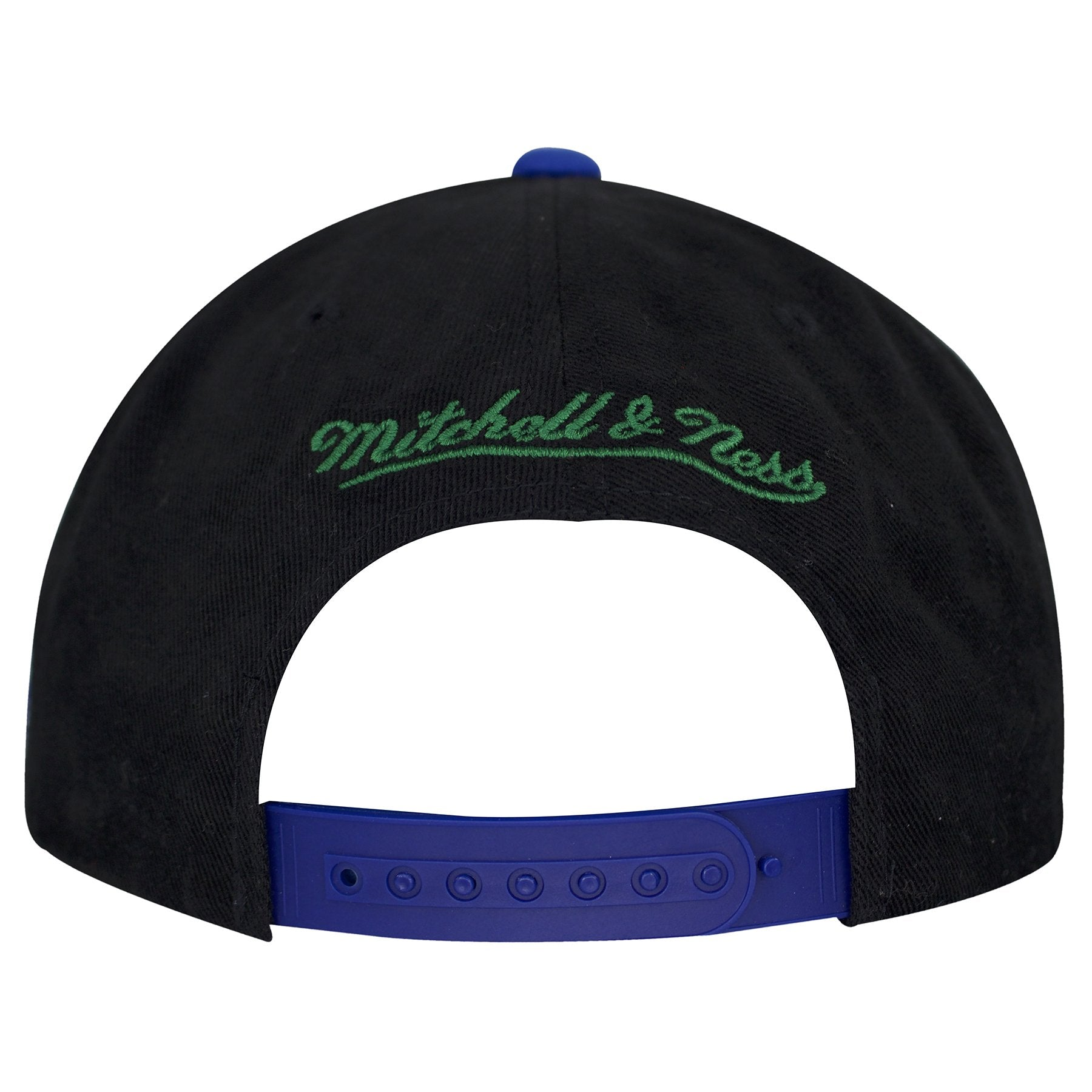 a3c600be3 ... Seattle Seahawks Tailsweeper Snapback  A blue adjustable snap is shown  on the back side with Mitchell and Ness brand embroidered ...