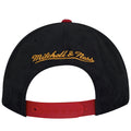 on the back of the tampa bay buccaneers mitchell and ness retro special script snapback hat is the Mitchell and Ness logo embroidered in yellow