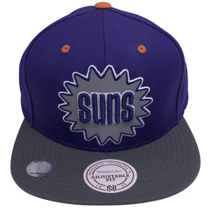 The Suns is heavily embroidered on the front in a large size of this Phoenix Suns Snapback Hat. The inside of the Suns logo is reflective.