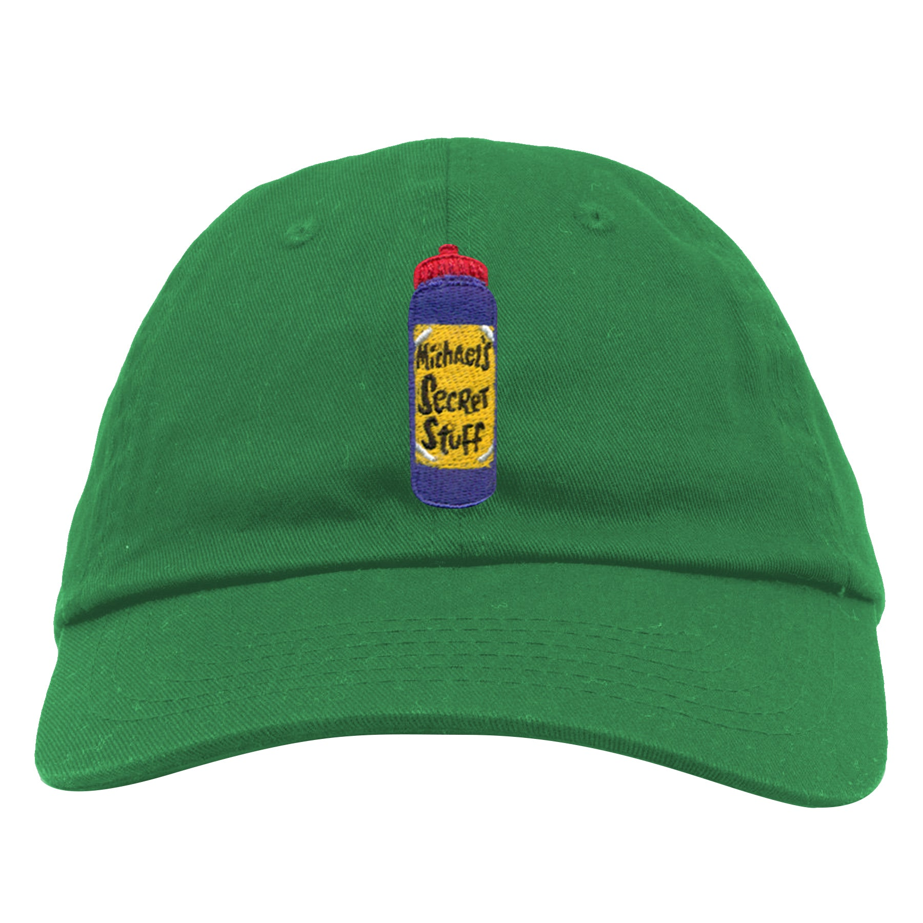 embroidered on the front of the green michael s secret stuff is the  michael s secret stuff bottle 6c08ce71332