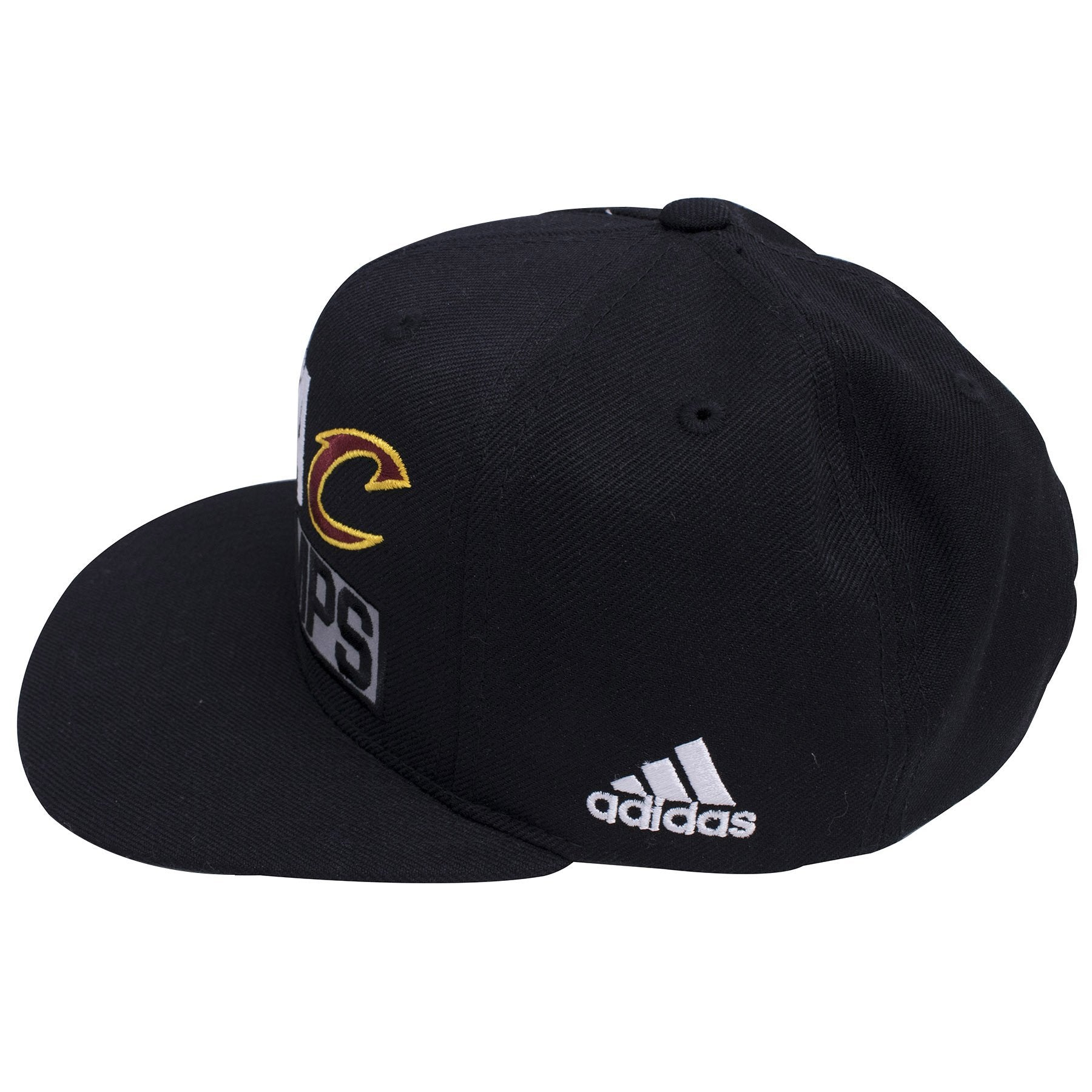 800657c7315d7 ... on the left side of the cleveland cavaliers 2016 NBA champions snapback  hat is a white ...