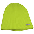 the neon green neff daily beanie is solid neon green with a tag that says neff in black letters