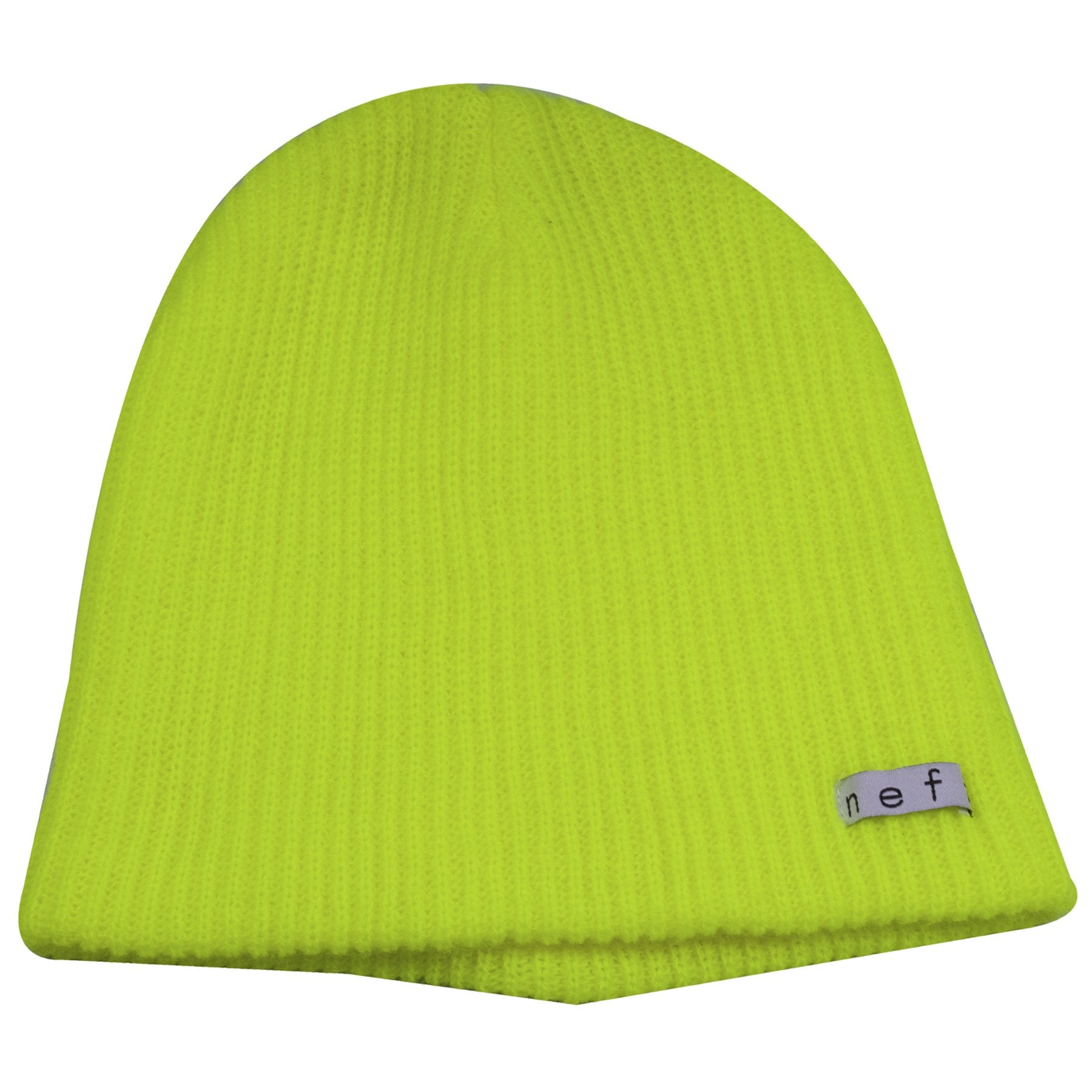 200e4a52a54 the neon green neff daily beanie is solid neon green with a tag that says  neff