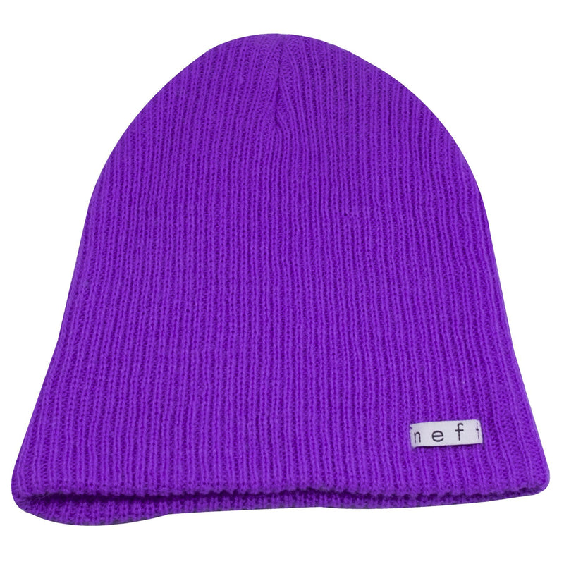 the neff neon purple daily beanie is solid purple and has a white tag on the front that says neff in white letters