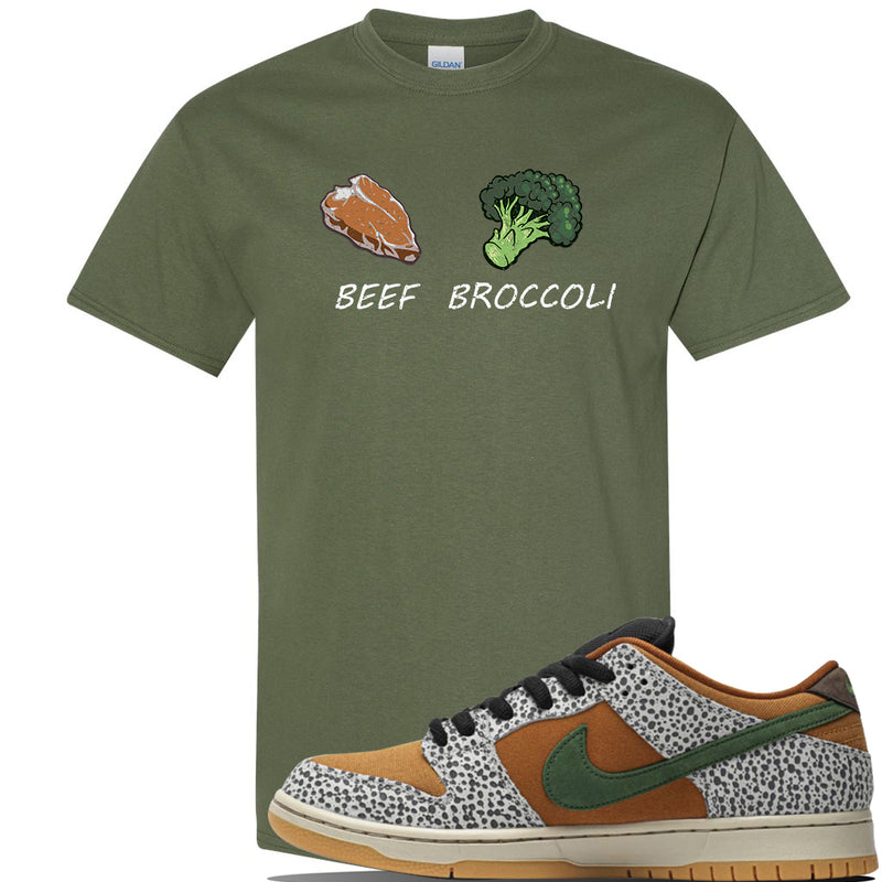 SB Dunk Low Safari Sneaker Military Green T Shirt | Tees to match Nike  Shoes | Broccoli + Beef