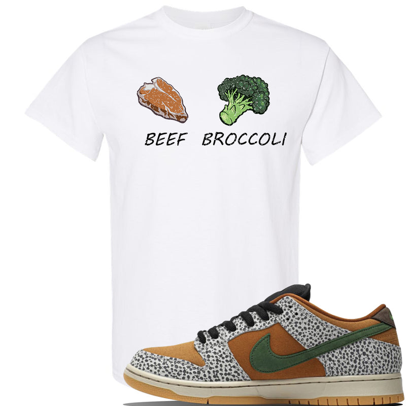 SB Dunk Low Safari Sneaker White T Shirt | Tees to match Nike SB Dunk Low Safari Shoes | Broccoli + Beef