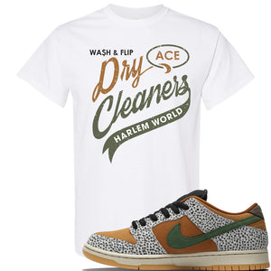 SB Dunk Low Safari Sneaker White T Shirt | Tees to match Nike SB Dunk Low Safari Shoes | Harlem Dry Clean