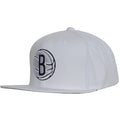 the brooklyn nets classic white snapback hat has a high structured white crown and a flat white brim