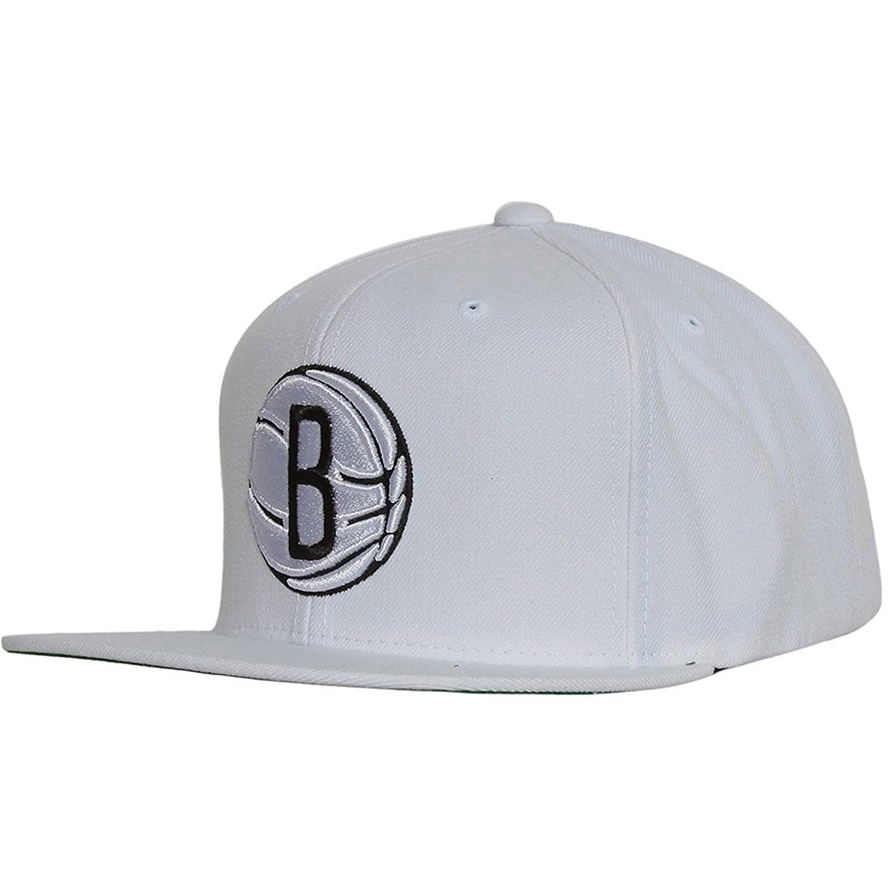 new concept ab160 dc3b8 ... the brooklyn nets classic white snapback hat has a high structured  white crown and a flat ...