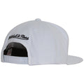 on the back of the mitchell and ness brooklyn nets white snapback hat is the mitchell and ness logo embroidered in black
