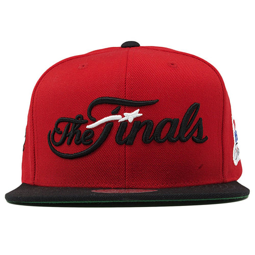 on the front of the chicago bulls nba finals red on black snapback hat is the finals lettering embroidered in black and white