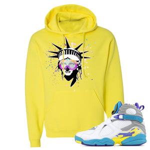 Air Jordan 8 WMNS White Aqua Sneaker Hook Up Liberty Head Neon Yellow Hoodie