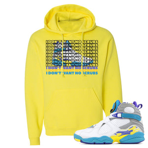Air Jordan 8 WMNS White Aqua Sneaker Hook Up I Don't Want No Scrub Neon Yellow Hoodie