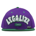 on the front of the legalize purple on green snapback hat is the word legalize in cloudy white and green letters