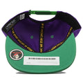 the under brim of the legalize purple on green snapback hat is green