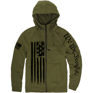 The military green Standard Issue zip-up hoodie has the American Flag down the front, the We The People lettering on the left sleeve and the USA flag on the right sleeve