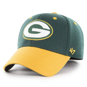 Embroidered on the front of the Green Bay Packers '47 brand stretch fit cap is the Green Bay Packers logo in white, green, and yellow