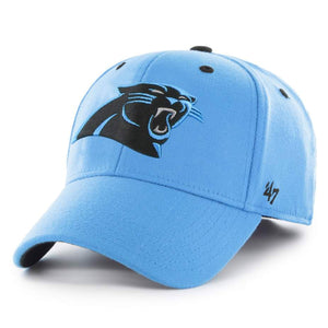 Embroidered on the front of the Carolina Panthers stretch fit cap is the Carolina Panthers logo in black and carolina blue