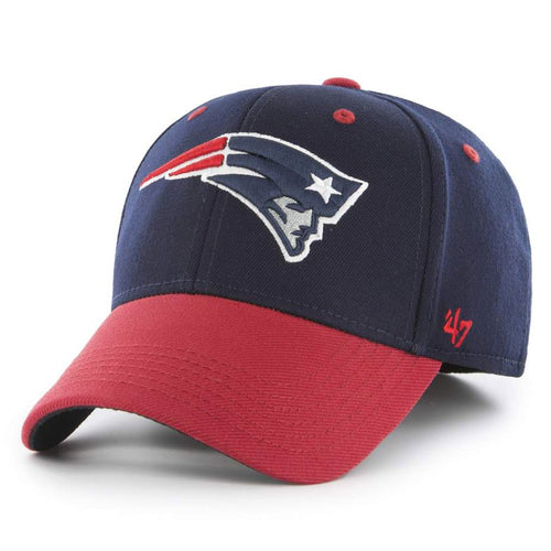 The new england patriots one size fits all stretch fit cap has a navy blue structured crowna nd a red bent brim with the new england patriots logo embroidered on the front in red, white, and blue