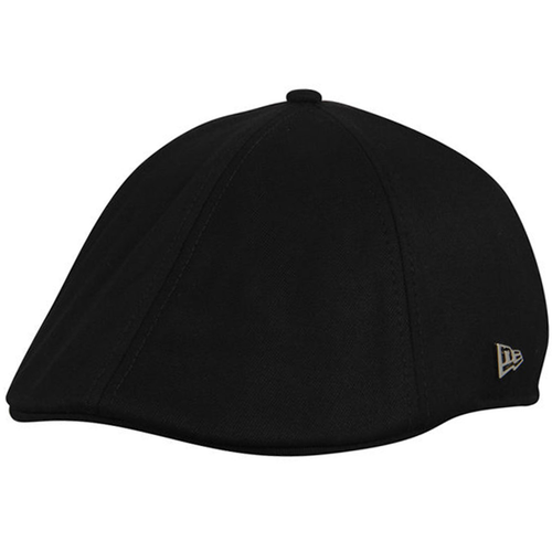 on the left side of the philadelphia 76ers black irish duckbill cap is the metallic new era emblem