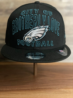 front of EAGLES  SNAP BACK HAT | 2020 DRAFT HAT | PHILLY EAGLES BLACK 9FIFTY SNAPBACK ALTERNATE DRAFT HAT