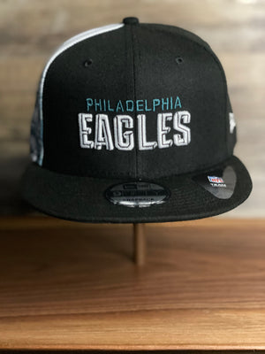front of EAGLES SNAP BACK HAT  | 2020 DRAFT HAT | EAGLES BLACK Deck of cards  9FIFTY SNAPBACK SIDE ART DRAFT HAT