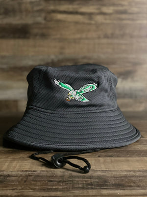 front logo  Eagles Throwback bird gray  Bucket | Philadelphia birds  Vintage Retro grey  Bucket Hat