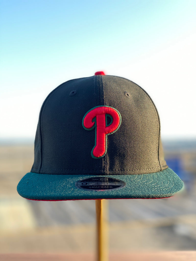 Front of Phillies Italian color way Luxury Snapback hat | Philadelphia Phillies High fashion Green Red Black Stripe Snapback