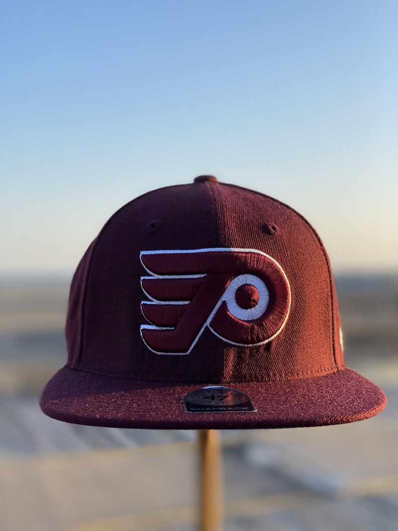 front of  Flyers  X phillies color way snapback hat  | Maroon vintage cooper town color way flyers snapback