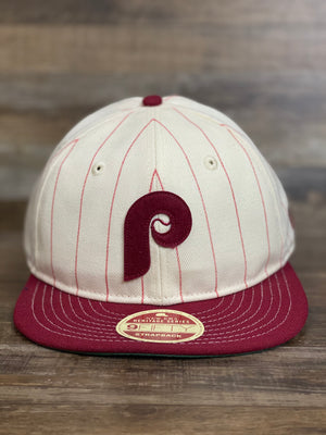NEW ERA | PHILADELPHIA PHILLIES | HERITAGE SERIES COOPERSTOWN COLLECTION PINSTRIPE | 9FIFTY (950) STRAPBACK HAT | CREAM/MAROON | OSFM