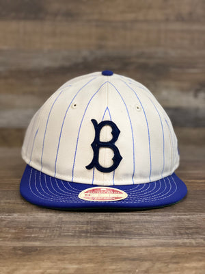 Brooklyn Dodgers pinstripe heritage collection strapback hat | Cream dodgers blue