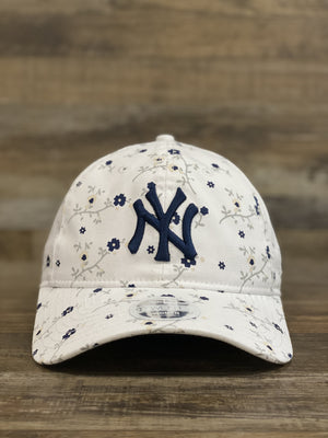 front of  NEW YORK YANKEES | BLOSSOM SPRING MICRO FLORAL | 9TWENTY (920) DAD HAT | WHITE | WOMENS OSFM | NEW ERA